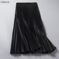 LXUNYI 2018 Autumn A Line Midi Satin Skirt for Women Casual Solid Runway Pleated Skirts Ladies All Match Mid Skirt Black Green