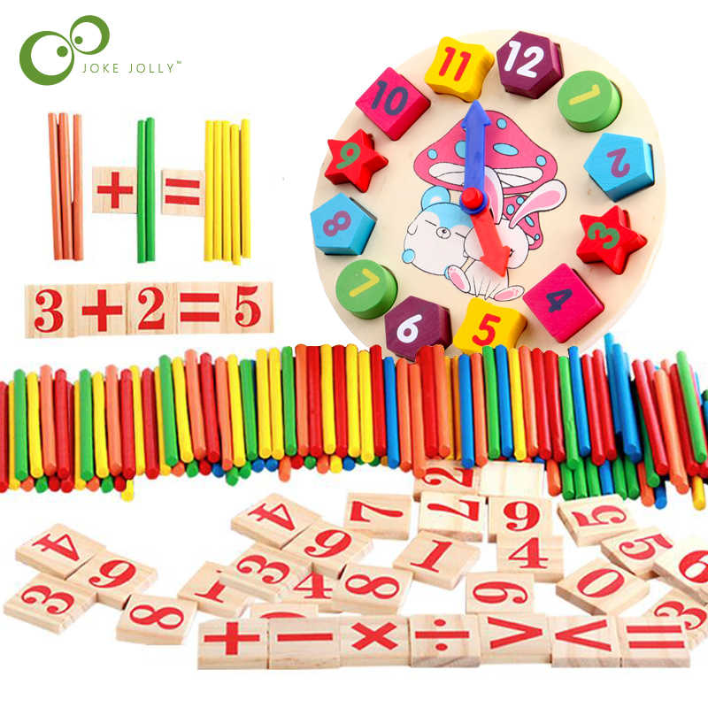 Colorful Bamboo Counting Sticks Clock Toy Mathematics Montessori Teaching Aids Counting Rod Kids Preschool Math Learning Toy GYH
