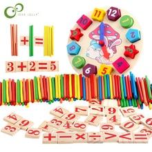 Coloridos palillos de conteo de bambú juguete de reloj matemáticas Montessori enseñanza ayuda contar barra niños preescolar juguete para aprender matemáticas GYH