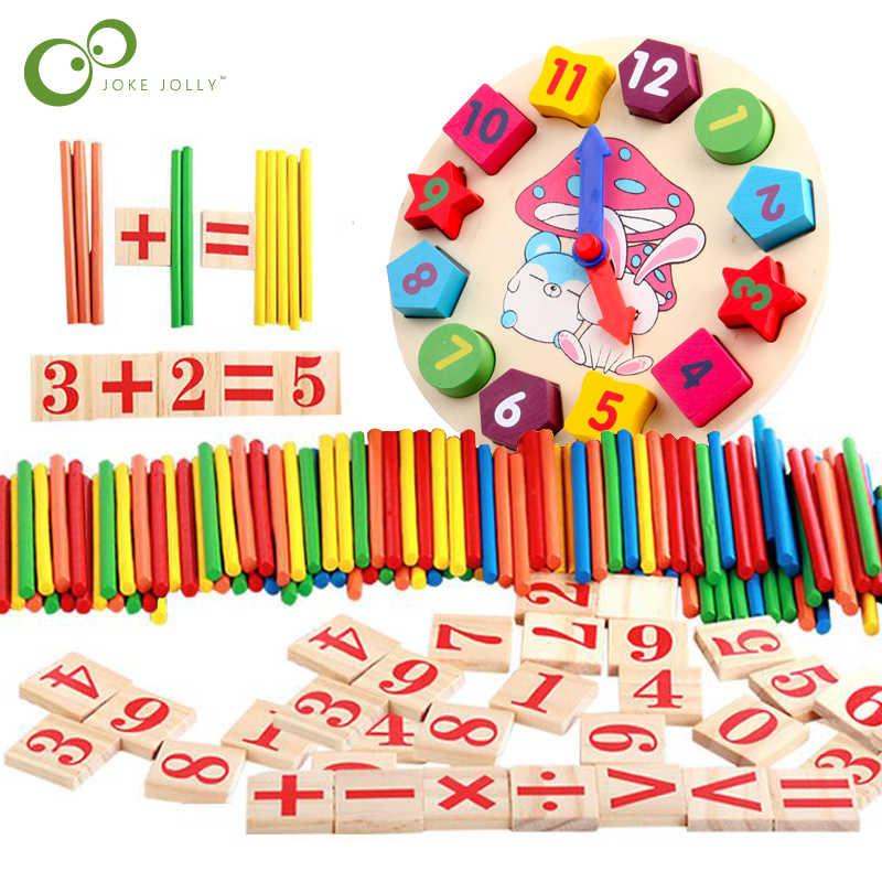 Colorido Bambu Varas de Contagem Relógio Brinquedo Auxiliares de Ensino Montessori Matemática Contando Vara Kids Preschool Brinquedo de Aprendizagem de Matemática GYH