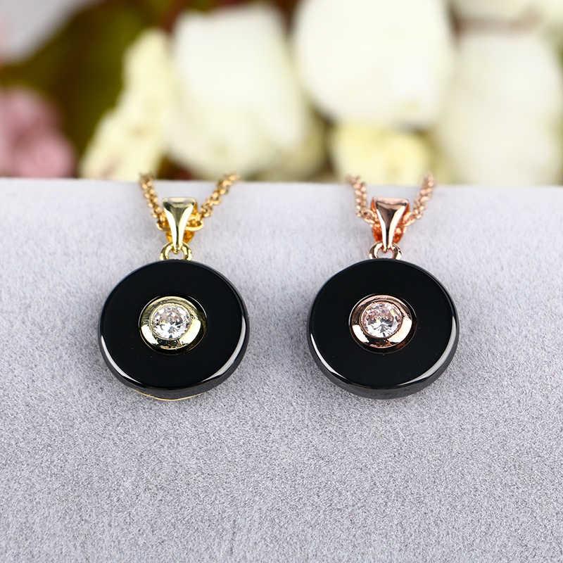 2019 różowe złoto koło naszyjnik Plus duże kryształowe Rhinestone gładki ceramiczny naszyjnik biżuteria ślubna na prezent z darmowy łańcuszek