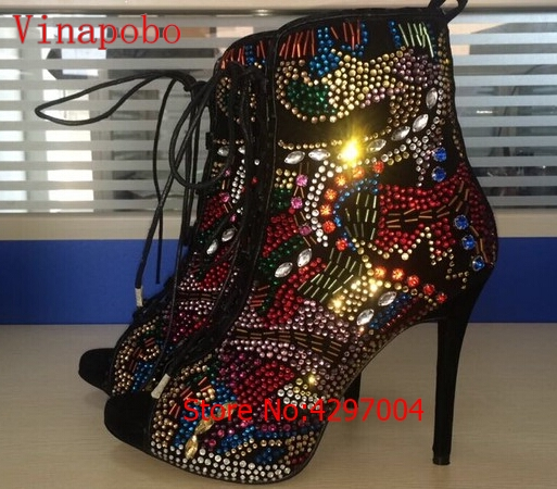 Real-Photo-Big-Size-10-Colorful-Crystal-Peep-Toe-Ankle-Booty-High-Heel-Lace-up-Thin (1)