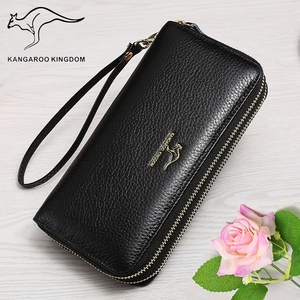 Image 3 - KANGAROO KINGDOM luxury genuine leather women wallets long double zipper lady clutch purse brand hand bag for
