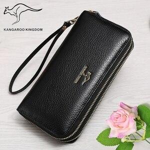 Image 3 - KANGAROO KINGDOM หนังแท้กระเป๋าสตางค์ผู้หญิงยาวกระเป๋าสตางค์คู่ซิปกระเป๋าคลัทช์สุภาพสตรีแบรนด์สำหรับ