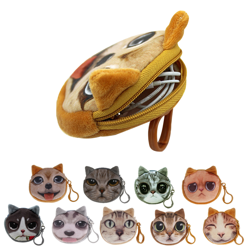1Pc Kids Cute Cat Dog Face Zipper Case Coin Womens Purse Wallet Makeup Bag Pouch New new cute cat face printed zipper coin purses for kids students pencil case cartoon wallet bag coin pouch children purse holder