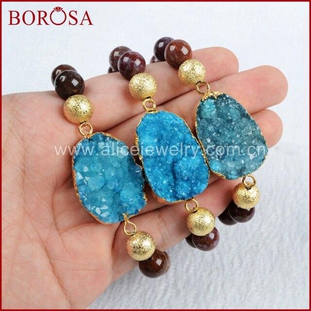 Borosa Gold Color Blue Stone Druzy Geode Bracelet With10mm Pietersite Beads Jewelry Gems
