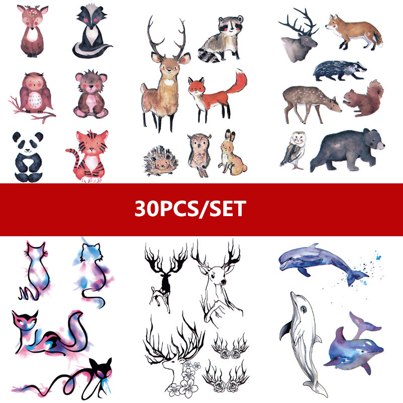 30pcs/set Waterproof Temporary Tattoo Sticker Cat Deer Birds Flower Words Fake Tattoo For Finger Ankle Chest Tatuaje Temporal