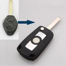 BBQ@FUKA Blank 3 Buttons Car Remote Flip Key Case fit for BMW E81 E46 E39 E63 E83 E53 E36 Care Fob Replacement key shell