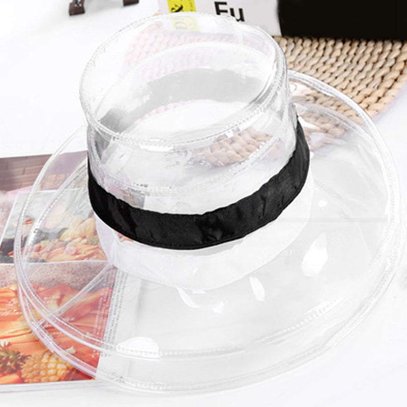 2018 New Bucket Cap Ladies Pvc Rainproof Dustproof Transparent Beach Hipster New Fisherman Hat Black And White Ribbon