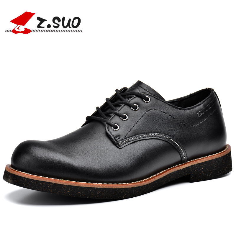 Z.Suo 2017 Mens Genuine Leather Formal Shoes Low Hells Men Dress Shoes Lace Up Round Toe Man Business Shoes Black Brown ZS16702 zdrd new fashion genuine leather men business casual shoes british low top lace up suede leather mens shoes brown red men shoes