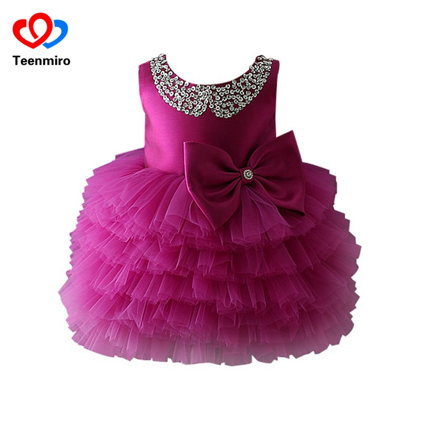 Children Clothes for Girls Christening Tutu Dress Baby Sequin Pearls Sleeveless Evening  ...
