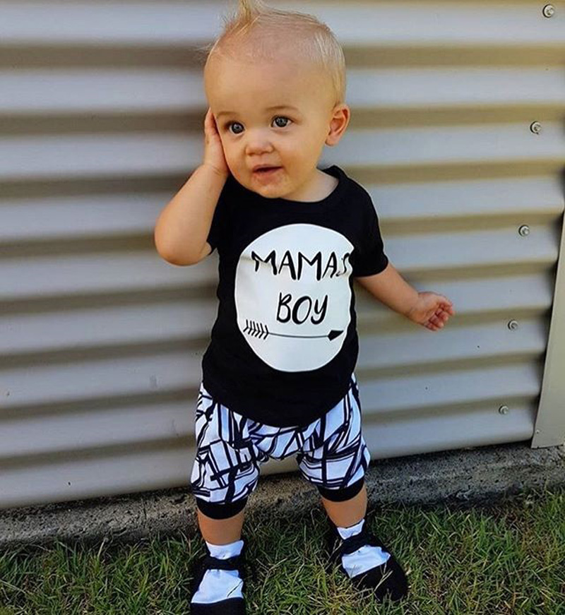 064f1edfe Newborn Infant Baby Boy MAMAS Boy Toddler T shirt Tops+Pants Outfit ...
