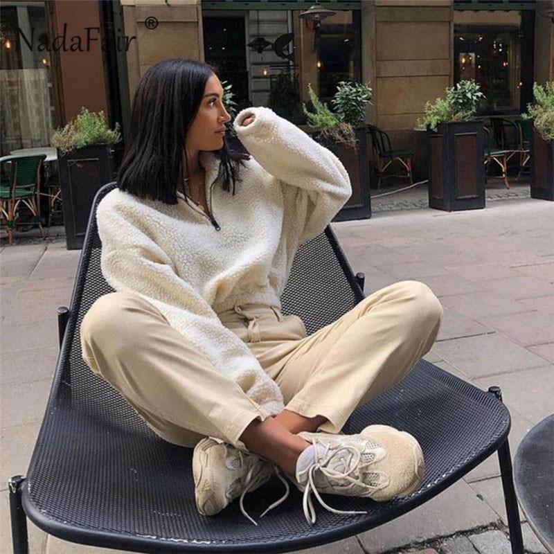 Nadafair Long Sleeve White Cropped Hoodie Women Autumn Winter Pullover Short Sweatshirt Plush Zipper Faux Fur Fluffly Sweatshirt 9