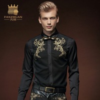FANZHUAN Men Embroidery Shirt 2017 Fall Personality Black Men Shirt New Arrival Long Sleeve Casual Slim Fit Male Shirts