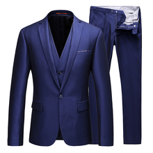 Slim designer 3 piece set mens wedding suit custom fashion (coat + vest pants) high-end banquet host formal business