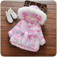 Autumn Winter Baby Girls Coat Jacket Thick Cotton Children Camouflage Print Jackets Infant Girls Hooded Coat