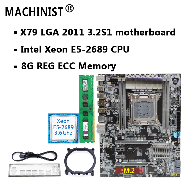 motherboard set X79 LGA 2011 motherboard with M.2 slot Intel Xeon E5 2689 2.6GHz RAM 8G(1*8G) REG ECC