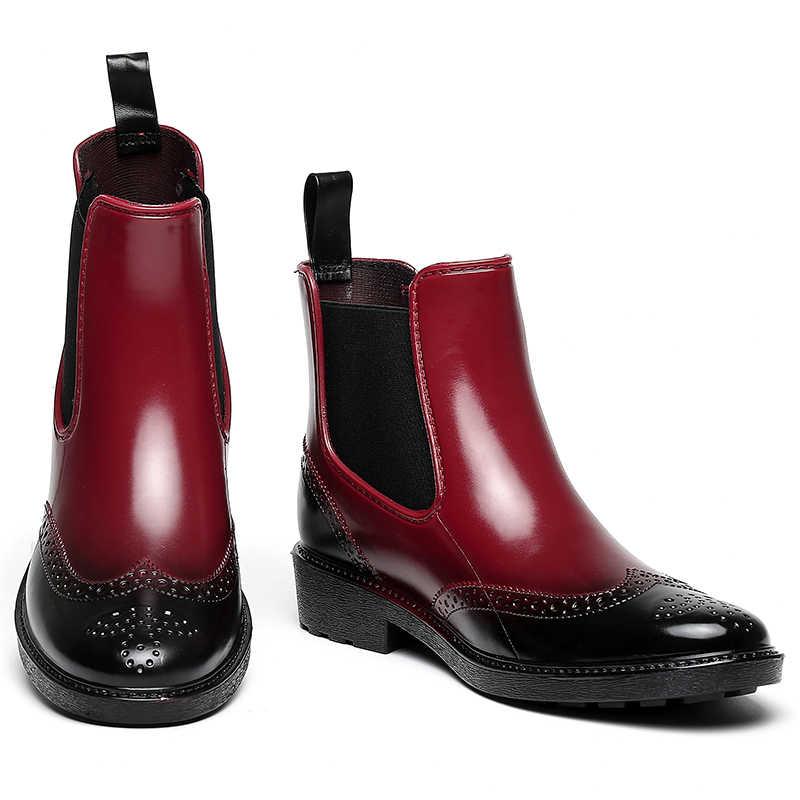 Herbst Regen Stiefel Frauen Anti-skid Regnerischen Schuhe Frau Wasserdichte Rain Frühling Stiefeletten Mädchen Flache Plattform Botas Mujer
