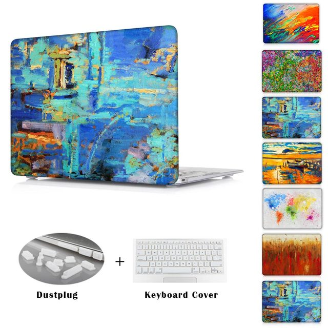 For Apple Air 11 13 Crystal Hard Laptop Case For Mac Pro 13 15/Pro 13 15 With Retina Print Oil Painting Cover For Macbook 12''
