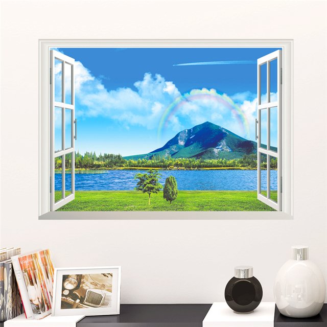 natural rainbow sea mountain view scenery wall stickers home decor