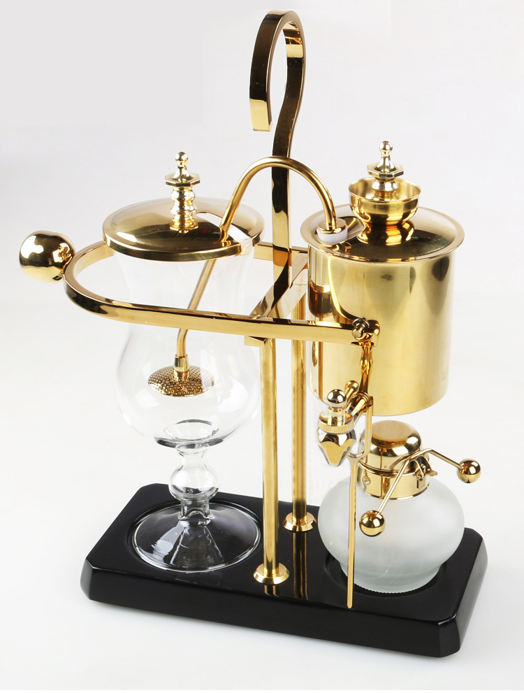 4-5 People Alcohol Siphon Coffee Stove Manual Coffee Maker Coffee Pot Gold