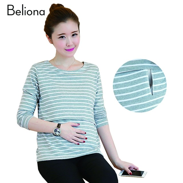Spring Autumn Stripe Maternity T Shirts for Breastfeeding Long Sleeve Nursing Tops Casual Pregnancy Clothes for Pregnant Women