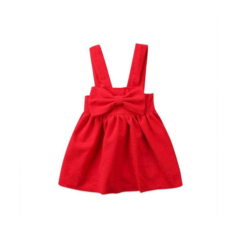 1-6y Fashion Leuke Pasgeboren Peuter Meisje Katoenen Losse Rode Boog Knop Overalls Outfit Herfstwinter Sunsuit Babykleertjes