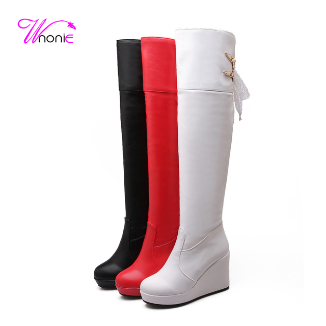 fa0c532d3c40 2017 Fashion Woman s Boots Riding Thigh High Wedge PU Leather Back Lace-up  Warm Plush Casual Party Sexy Winter Boots Ladies Shoe