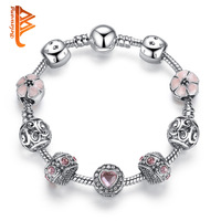BELAWANG 925 Silver Charm Bracelet For Women With Flower And Crystal Heart Beads Bracelet Original Mother