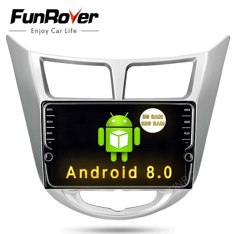 Funrover 8 IPS Voiture Lecteur DVD GPS Navigation Pour Hyundai Solaris Verna Accent 2011-2015 Radio vidéo audio lecteur BT WIFI Aucun DVD