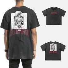 2019 Men's Cotton Printed Round Neck Short Sleeve T-shirt High Street Oversize T-shirt Men Dark Gray Loose Vintage Old T-shirt цена 2017