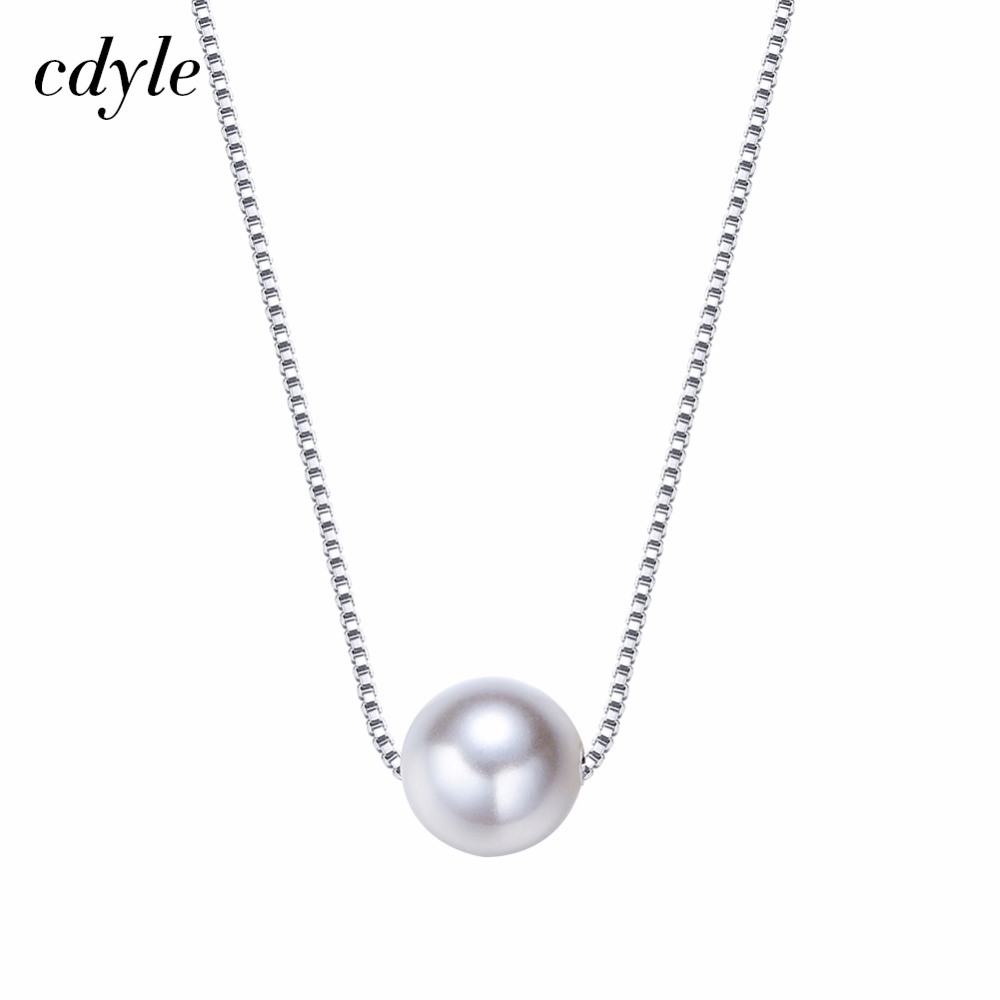 e833472d0cf5a5 Cdyle Embellished with crystals from Swarovski Simulated Pearl Necklace  Women Pendant Elegant Luxury 925 Sterling Silver Jewelry