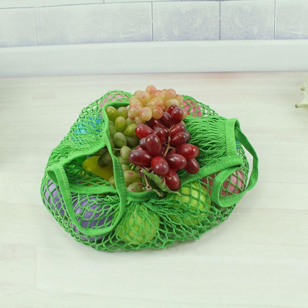 Лимит 100 многоразовый фруктовый шоппинг струна продуктовый шоппер хлопок тоут сетка тканая сетка мешок P - Цвет: Зеленый