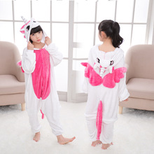 90-160cm Panda Kigurumi Animal Unicorn Onesie Kids Flannel Pajamas Boys Girls Winter Cosplay Party Jumpsuit Sleepwear Pijama
