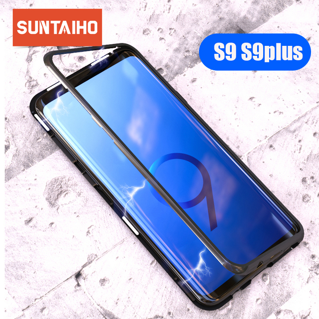 Suntaiho Magnetic Adsorption Case For Samsung S8 S9 Plus Note 8 S7 Edge Tempered Glass Cover For iPhone X 7 8 Huawei P20 Oneplus
