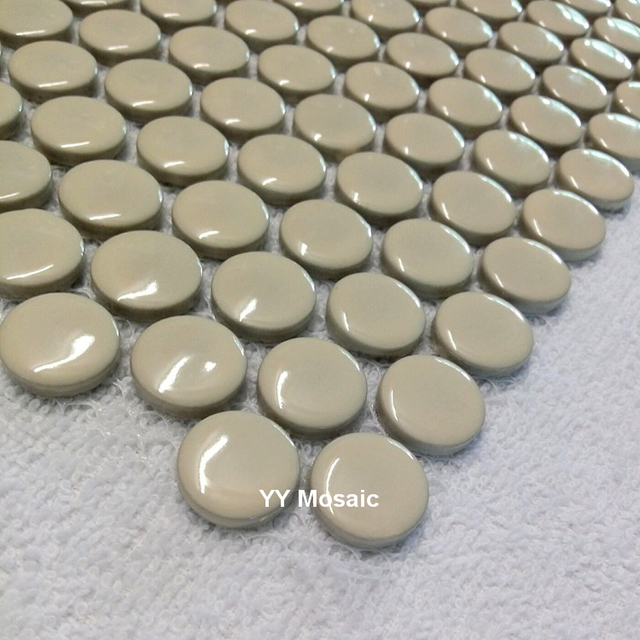Nordic Polished White Small Round Ceramic Mosaic Tilesbathroom