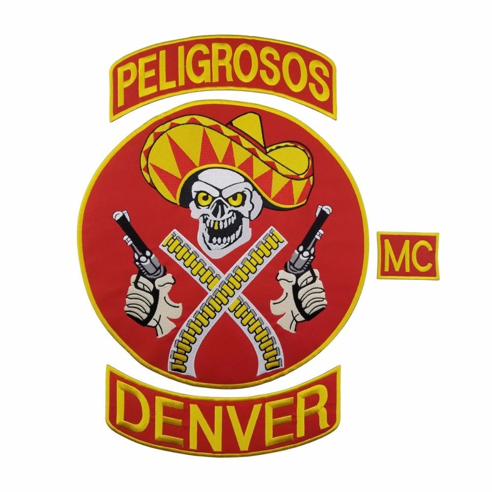 L171213-3 HOT SALE PELIGROSOS DENVER RED COWBOY WITH GUN MOTORCYCLE CLUB VEST OUTLAW BIKER MC JACKET PUNK LARGE BACK IRON ON WEST PATCH (1)