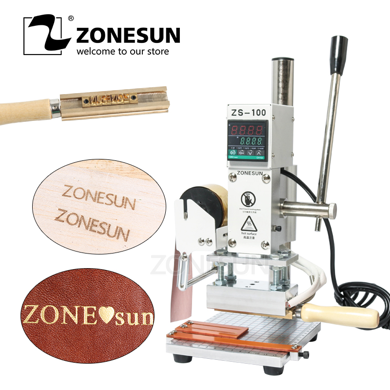 ZONESUN ZS100 Manual PVC Card Leather Paper LOGO Hot Foil Stamping Bronzing Embossing Machine Heat Press Machine Punch Press