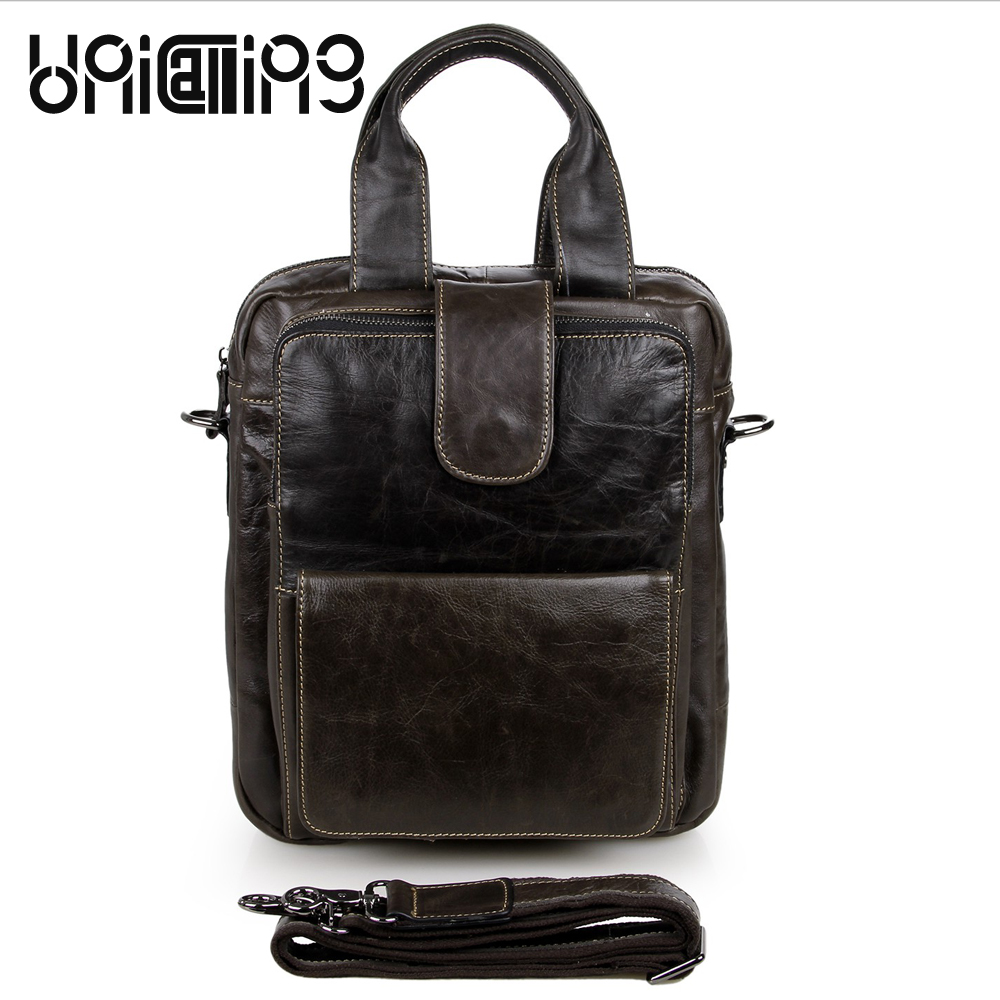 UniCalling Fashion brand cow leather men bag Retro Large capacity messenger bag men leather Top grade Business men handbag