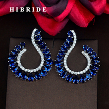 HIBRIDE Fashion Design Blue Water Drop White Gold Color Stud Earrings For Women Jewelry Wedding Gifts Boucle d'oreille E-820