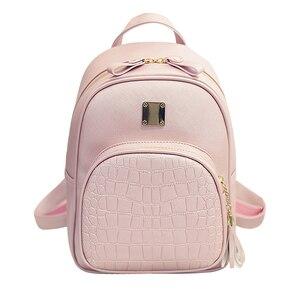Image 2 - Женский кожаный рюкзак, школьные сумки для девочек подростков, Маленькая женская сумка с блестками и камнями в стиле преппи