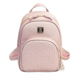 Image 2 - Zaino da donna borse da scuola in pelle per ragazze adolescenti borsa piccola in stile preppy con paillettes in pietra femminile