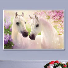 Two white horse 50x38cm Full drill diamond embroidery 3d diamond cross stitch fashion diamond mosaic pictures of rhinestones