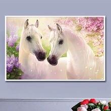 Два белых коня 50×38 см Полный дрель вышивка алмаз 3d алмазный крест стежка мода алмазный мозаика фотографии стразы
