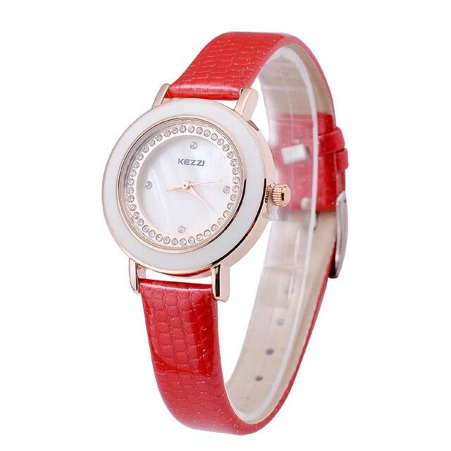 KEZZI Brand Women New Style Bracelet Watch Shiny Crystal Slim Leather Relojes Dr