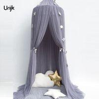 Urijk 1 ADET Dairesel Gri Gölgelik Yatak Saçak Çocuk Odası Dekorasyon Yatak Çadır Moustiquaire Prenses Çocuk Kız Yuvarlak Cibinlik