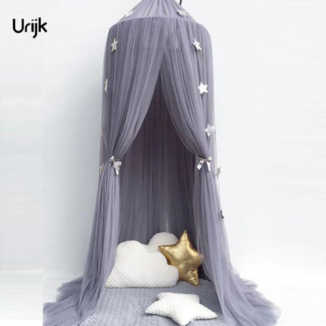 Urijk 1 Stück Rund Grau Baldachin Bett Volant Kinderzimmer