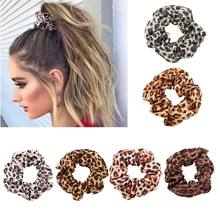 Women Chiffon Fabric Large Intestine Boho Vintage Colored Leopard Digital Printing Ponytail Holder Ruched Elastic Scrunchies(China)