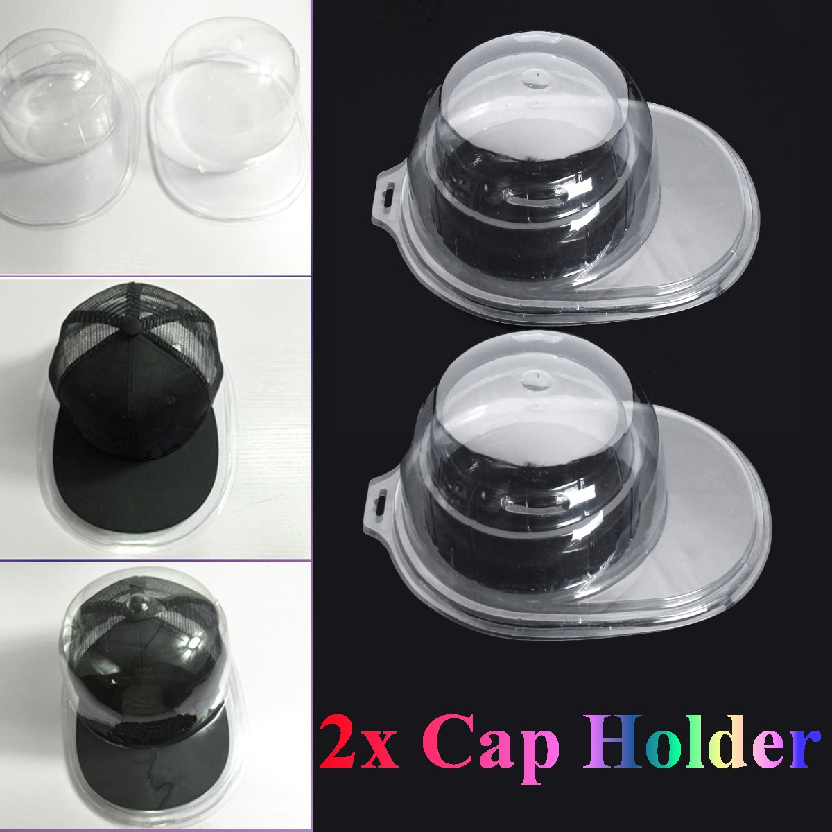 1 Set Acrylic Clear Cap Hat Protector Baseball Cap Display Case Holder