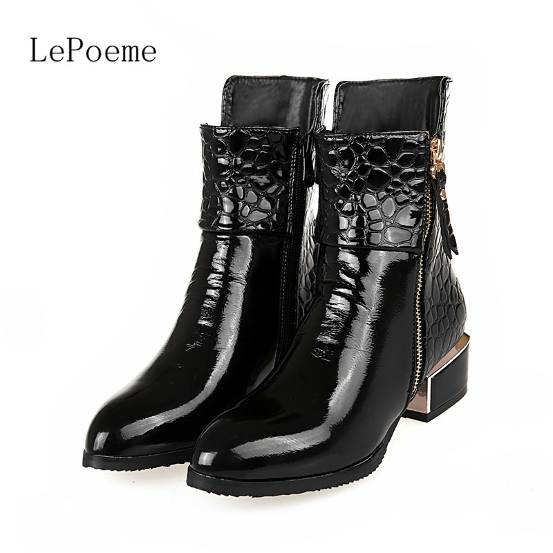 Ankle Leather Boots 2017 Pointed Toe Patent Black Blue Wine Red Woman Side Zip Low heeled